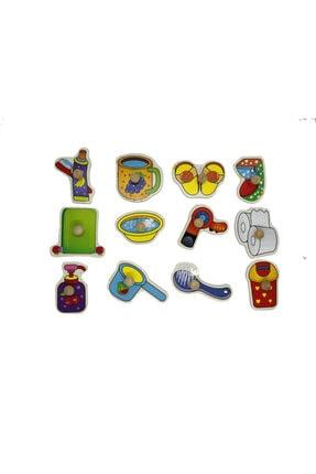 TOYS&TOYS Ahşap Tutmalı Eğitici Banyom Seti Puzzle Okul Öncesi Eğitici Bultak Puzzle 4