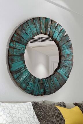 bluecape Doğal Ağaç Turquois Exclusive Vintage Edition Saat Dresuar Ayna Salon Koridor Hol Dekor Takım Set 1