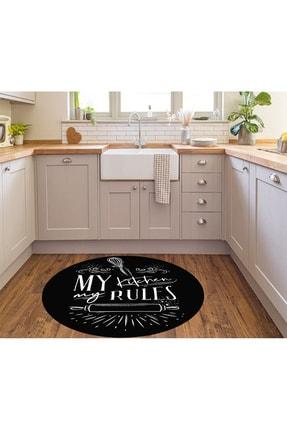 WOOLLY HOME COLLECTİON Siyah Kıtchen Desenli Yuvarlak Mutfak Halısı (Makinede Yıkanabilir Kaymaz Deri Taban -w0004-2) 1