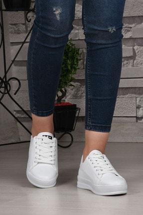 Weynes Kadın Beyaz Bağcıklı Deri Spor Ayakkabı Ba18018 1