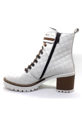 Cassido Platform Topuk Hakiki Deri Beyaz Kadın Bot 2