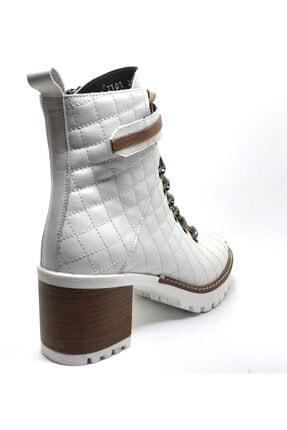 Cassido Platform Topuk Hakiki Deri Beyaz Kadın Bot 3
