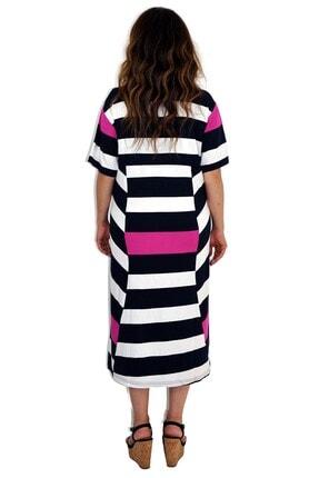 Dükkan Moda Kadın Büyük Beden Elbise Lacivert Beyaz Çizgili 3