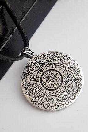 Gümüş Pazarım Ayet El Kürsi Yazılı Erkek Gümüş Kolye 0