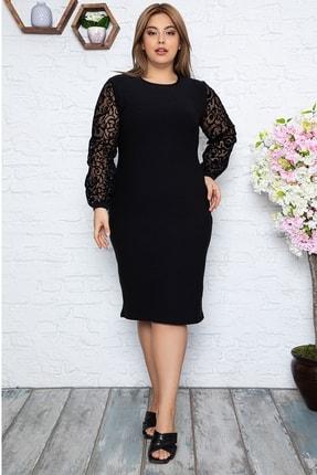 1fazlası Kadın Büyük Beden Türk Motifi Flok Detaylı Elbise 1