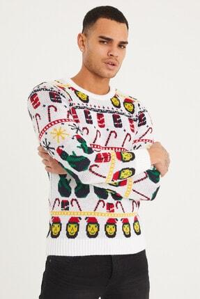 Tarz Cool Erkek Beyaz Christmas Yılbaşı Kazağı-noelkzkr01s 1