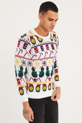 Tarz Cool Erkek Beyaz Christmas Yılbaşı Kazağı-noelkzkr01s 2