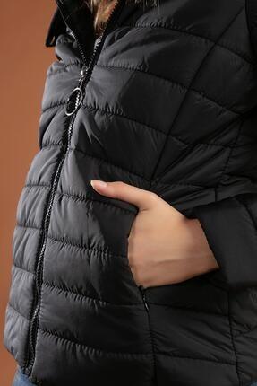 Y-London Kadın Siyah Suni Kürk Kapşonlu Şişme Mont 5083 3