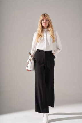 Krep Parçalı Pantolon (Siyah) resmi