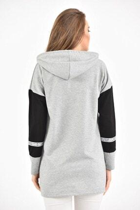 BURRASCA Grace Baskılı Kol Detaylı Kapüşonlu Sweatshirt 3