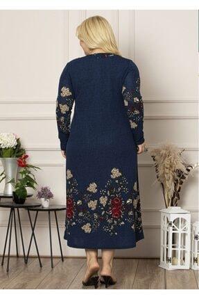 Şirin Butik Kadın Lacivert Yaka Pervazlı Uzun Büyük Beden Elbise 3