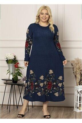 Şirin Butik Kadın Lacivert Yaka Pervazlı Uzun Büyük Beden Elbise 4
