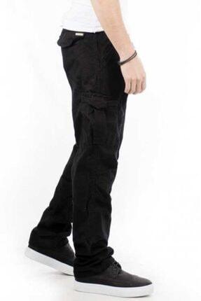 Bilgiçler Erkek Siyah Geniş-bol Kesim Kargo Pantolon 4