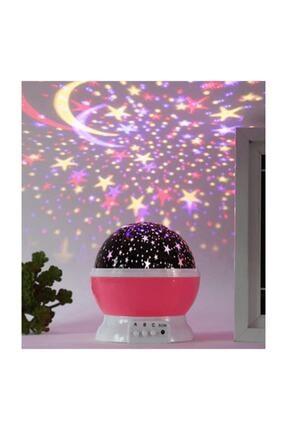 HediyeFilesi Dönen Projeksiyon Gece Lambası Star Master Ay Yıldız Led - Pembe 0