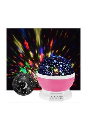 HediyeFilesi Dönen Projeksiyon Gece Lambası Star Master Ay Yıldız Led - Pembe 1