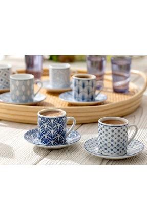 English Home Solita Porselen 12 Parça Kahve Fincan Takımı 80 Ml Mavi 1