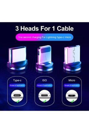 Suba Iphone Android Samsung Manyetik Mıknatıslı Micro Usb Type-c Uyumlu Şarj Kablosu 4