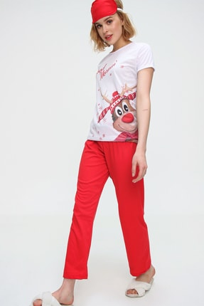 Trend Alaçatı Stili Kadın Beyaz Uyku Bantlı Bisiklet Yaka Geyik Baskılı Kısa Kol Pijama Takım ALC-X5585 1