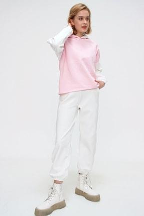 Trend Alaçatı Stili Kadın Pembe Renk Bloklu Şardonlu Kapüşonlu Eşofman Takım ALC-507-520-GR 1