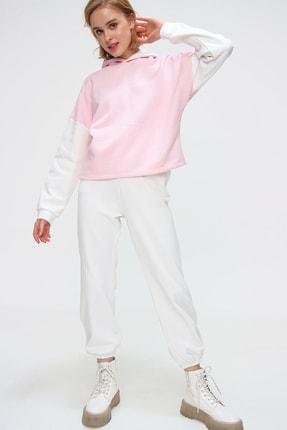 Trend Alaçatı Stili Kadın Pembe Renk Bloklu Şardonlu Kapüşonlu Eşofman Takım ALC-507-520-GR 2