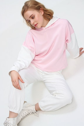 Trend Alaçatı Stili Kadın Pembe Renk Bloklu Şardonlu Kapüşonlu Eşofman Takım ALC-507-520-GR 3