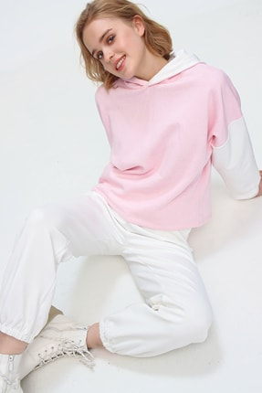 Trend Alaçatı Stili Kadın Pembe Renk Bloklu Şardonlu Kapüşonlu Eşofman Takım ALC-507-520-GR 4