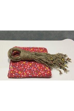 El Emeği 50 Adet Kırmızı Kavanoz Kapağı Kumaşı (Örtüsü) Ve Boncuklu Bağlama Ipi 2