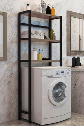 Elit Çamaşır Makinesi Üstü Düzenleyici Raf Banyo Dolabı Rafı Makina Üstü Dolap Raf Ceviz 0
