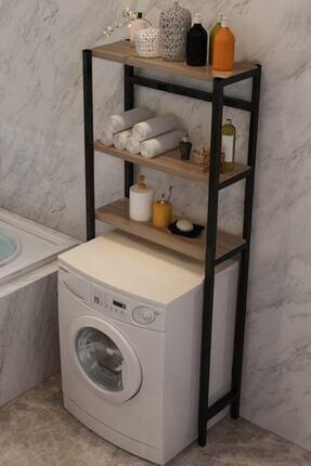 Elit Çamaşır Makinesi Üstü Düzenleyici Raf Banyo Dolabı Rafı Makina Üstü Dolap Raf Ceviz 1