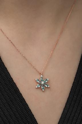 Nereze 925 Ayar Aquamarin Taşlı Çiçek Kolye Kadın Gümüş Kolye 2
