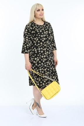 1fazlası Kadın Siyah Volan Kol Krep Kumaş Elbise 2