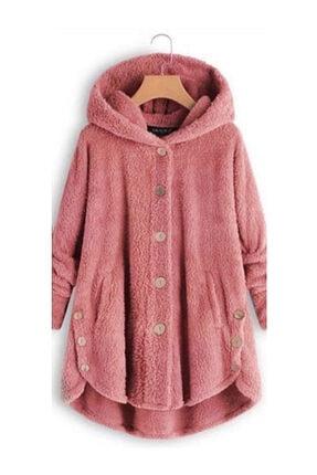 ELBİSENN Yeni Model Kadın Polar Düğme Detay Kapşonlu Wellsoft Ceket (Pembe) 0