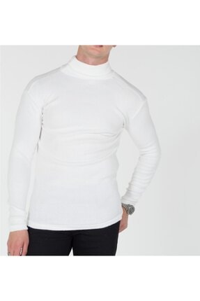 TREND YAŞAR Trend Erkek Beyaz Boğazlı Triko Kazak 1