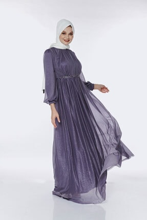 Muud Fashion Taş Kemer Detaylı Simli Tesettür Elbise 0
