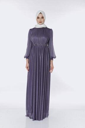 Muud Fashion Taş Kemer Detaylı Simli Tesettür Elbise 1