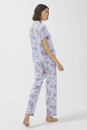 Penti Açık Mavi Oil Baskılı Pijama Takımı 4