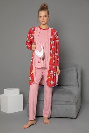 Strawberry 3'lü Set Hamile Sabahlık-pijama Takım 3