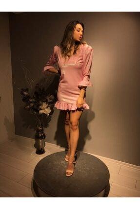 Kadın Pudra Rengi Fırfırlı Elbise OZEL1017
