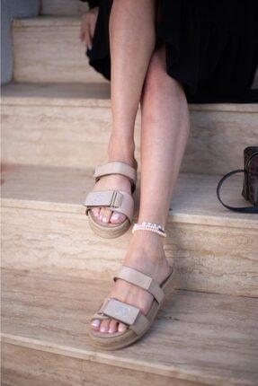 Espardile Kadın Kahverengi Taşlı Sandalet 1