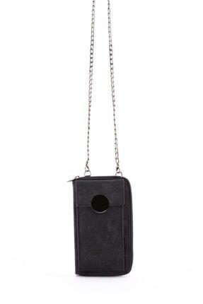 Espardile Kadın Siyah Zincir Askılı Mini Çanta 0449 4