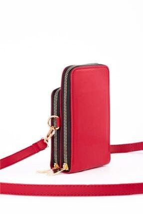 Espardile Kadın Kırmızı Telefon Bölmeli Omuz Çantası 2