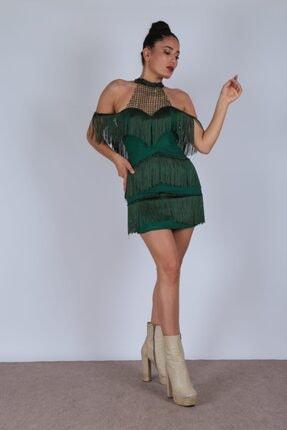 Kadın Yeşil Püsküllü Zümrüt Elbise DKHC-31
