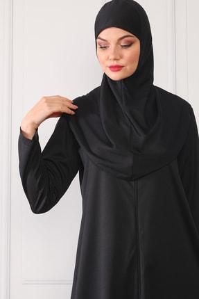 Feyza Fashion Fermuarlı Tek Parça Pratik Giyimli Namaz Elbisesi Siyah 1