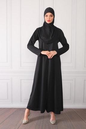 Feyza Fashion Fermuarlı Tek Parça Pratik Giyimli Namaz Elbisesi Siyah 4