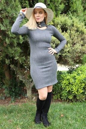Neşeli Butik Kadın Kışlık Yeni Sezon Yaka Ve Kol Detaylı Triko Elbise Nb7187 0
