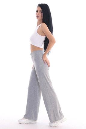 ALL TIME Kadın Gri Kaşkorse Fitilli Örme Pantolon 3