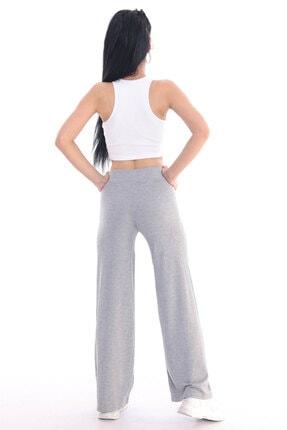 ALL TIME Kadın Gri Kaşkorse Fitilli Örme Pantolon 4