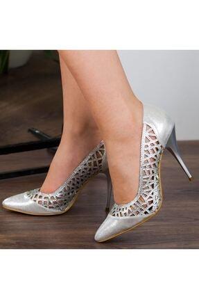 Adım Adım Gümüş Stiletto Yüksek Topuk Abiye Gelin Kadın Ayakkabı • A182ysml0011 1