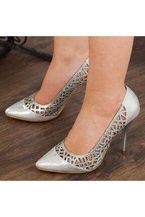 Adım Adım Gümüş Stiletto Yüksek Topuk Abiye Gelin Kadın Ayakkabı • A182ysml0011 2