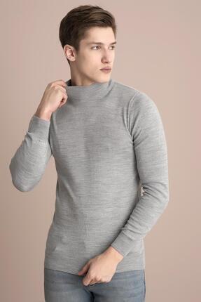 Tena Moda Erkek Gri Melanj Yarım Balıkçı Kırçıllı Triko Kazak 0